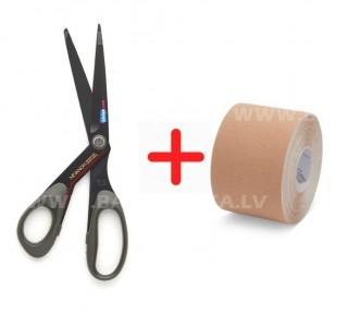 K-Tape šķēres 21cm + 5m teips